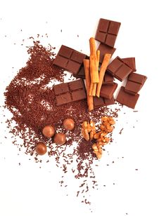 Chocolate And Cinnamon And Nuts Stock Images