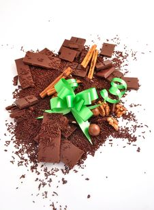 Chocolate And Bow Stock Image
