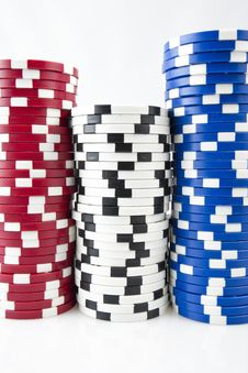 Free Poker Chips On White Stock Image - 15494651