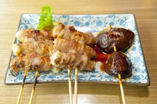 Free Japanese Skewered Meat And Mushrooms Stock Images - 15494904