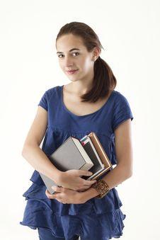 Free Teen Girl Holding Books Stock Photo - 15495240