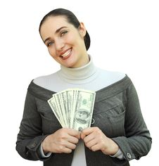 Free Smiling Woman Holding Money Royalty Free Stock Images - 15495269