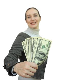Free Smiling Woman Holding Money Royalty Free Stock Photography - 15495277