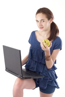 Free Teen Girl With Laptop Stock Image - 15495311