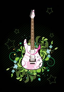 Free Floral Abstract With Electric Guitar Stock Image - 15497291