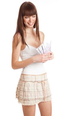 Free Girl With Money Royalty Free Stock Photos - 15497328