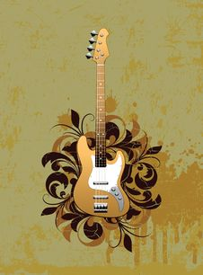 Free Retro Abstract With Electric Guitar Royalty Free Stock Images - 15497359