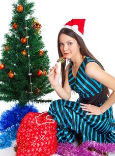 Girl Near Christmas Fir Tree Stock Image