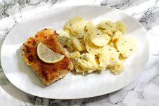 Free Fried Fish And Potato Salad Stock Image - 15498261