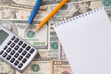 Free Calculator, Pens And Pad Royalty Free Stock Image - 15498416