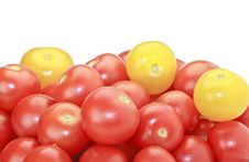 Free Red And Yellow Cocktail Tomatoes Isolated On White Royalty Free Stock Image - 15498986