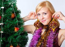 Girl Near Christmas Fir Tree Stock Images
