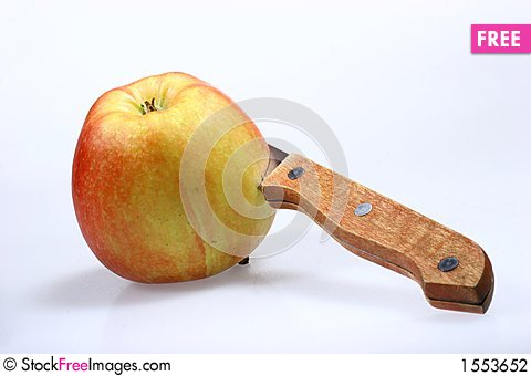 Apple and knife Stock Photo