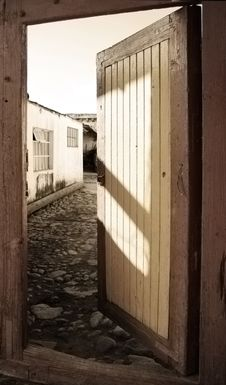 Free Old Rural Door In Washed Colors Royalty Free Stock Images - 1551269