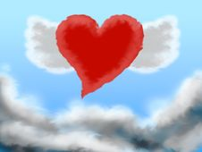 Free Flying Heart Royalty Free Stock Image - 1553206