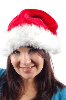 Woman With Santa Claus Hat 7 Royalty Free Stock Image