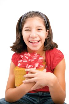 Free Preteen Accepting A Present Stock Photography - 1559412