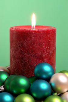 Free Seasonal Burning Candle Stock Image - 1559491