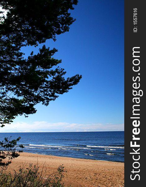 Lake Ladoga. A beach.