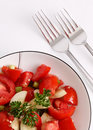 Free Red Tomato And Parsley Salad With Silver Forks Stock Photos - 15503803