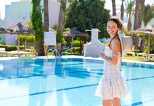 Free Young Woman Near The Pool Royalty Free Stock Photos - 15500238