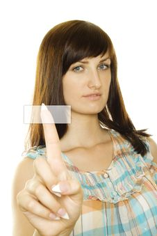 Girl Pressing A Button Royalty Free Stock Images