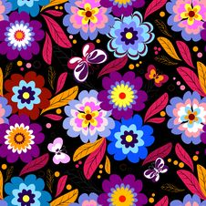 Free Seamless Floral Dark Pattern Royalty Free Stock Images - 15502729