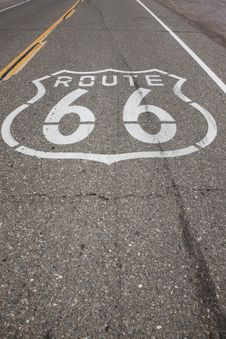Route 66 Sign Stenciled On Highway Royalty Free Stock Photography