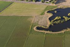 Free Aerial View Of Fields Bordering Subdivision Royalty Free Stock Photography - 15503277