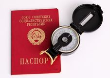 Free Old Soviet Union Passport With Compass Royalty Free Stock Photos - 15503798