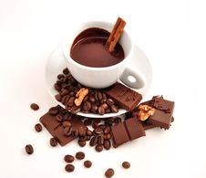 Coffee And Chocolate With Cinnamon Stock Photography