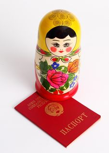 Free Russian Nesting Doll Standing On USSR Passport Stock Photography - 15503812
