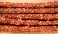 Free Smoked Sausages In Close Up Stock Photography - 15504102