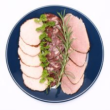 Plate Of Assorted Cold Cuts Royalty Free Stock Photography