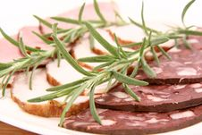Plate Of Assorted Cold Cuts Stock Image