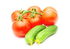Free Branch Of Tomatoes And Cucumbers Isolated Royalty Free Stock Photography - 15504877