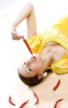 Woman With Chilis Stock Images