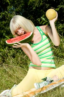 Free Woman With Melons Stock Photography - 15506932