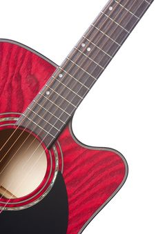 Red Acoustic Guitar Isolated On White Stock Images