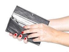 Woman Holding Opened Wallet Royalty Free Stock Photos