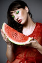 Free Girl With Watermelon Royalty Free Stock Images - 15512569