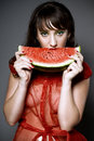 Free Girl With Watermelon Stock Photo - 15512580