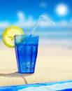 Free Glass Of Sparkling Water On A Beach Royalty Free Stock Photos - 15513788