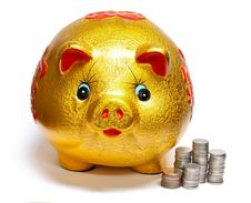 Free Gold Piggy Bank Royalty Free Stock Images - 15510549