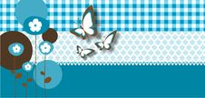Free Retro Card With Butterflies And Flowers Stock Photos - 15510923