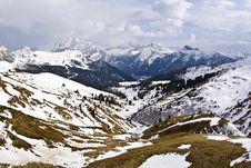 Dolomite Mountains, Sella Pass Stock Image