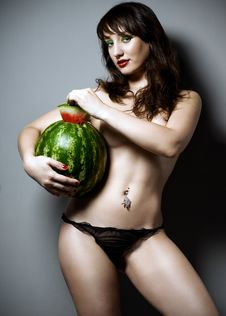 Free Girl With Watermelon Royalty Free Stock Images - 15512559