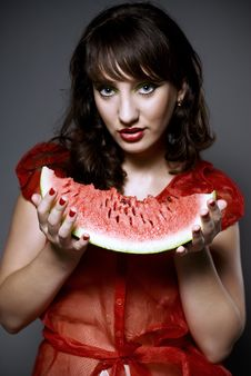 Free Girl With Watermelon Royalty Free Stock Image - 15512616
