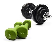 Free Black And Green Dumbbells On A White Background Royalty Free Stock Photography - 15513027
