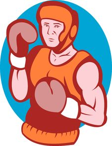 Amateur Boxer In Fighting Stance Royalty Free Stock Image